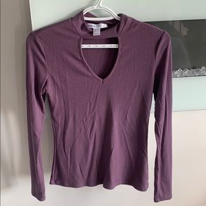 💜ribbed cut out long sleeve top